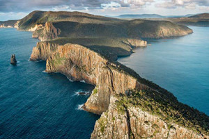 aerial shot of Tasman Peninsula Coast